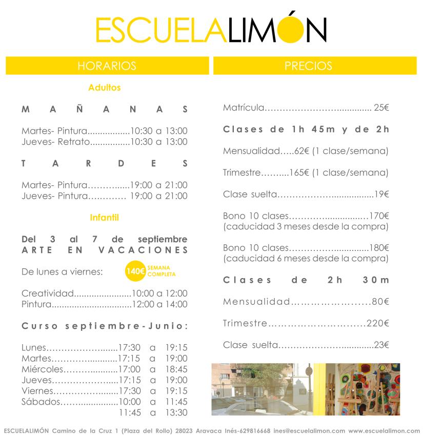 Horarios y Precios ESCUELALIMON 2018-19
